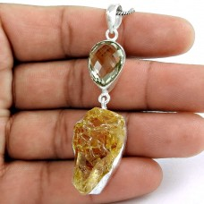 925 Silver Jewelry Traditional Green Amethyst, Citrine Gemstone Pendant Großhandel