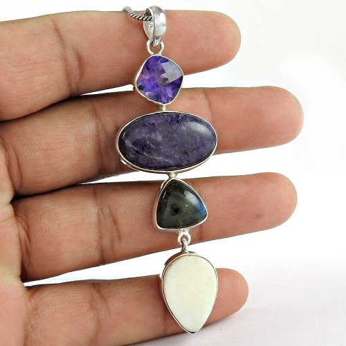 925 Sterling Silver Indian Jewelry Traditional Amethyst, Charoite, Labradorite, Mother of Pearl Gemstone Pendant Mayorista