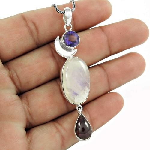 Sterling Silver Fashion Jewelry High Polish Amethyst, Rainbow Moonstone, Garnet Gemstone Pendant Supplier