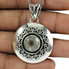 Personable Rose Quartz Gemstone Pendant 925 Silver Jewellery