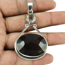Indian Sterling Silver Jewelry Fashion Smoky Quartz, Crystal Gemstone Pendant Exporter