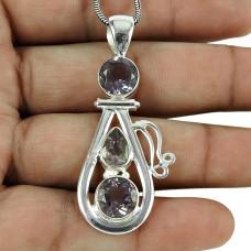 Scrumptious Amethyst Gemstone Pendant 925 Sterling Silver Jewellery