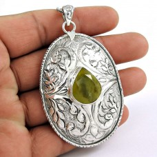 Cloud Song !! Prehnite 925 Sterling Silver Pendant