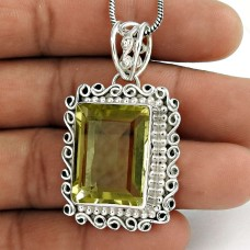 Sterling Silver Jewelry Ethnic Lemon Quartz Gemstone Pendant Fabricante