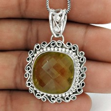 Perfect Citrine Gemstone Pendant Sterling Silver Jewellery