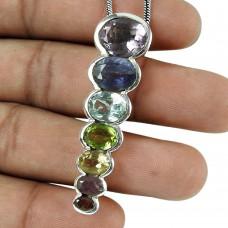 Trendy Amethyst, Iolite, Blue Topaz, Peridot, Citrine, Ruby, Garnet Gemstone Pendant 925 Sterling Silver Gemstone Jewellery
