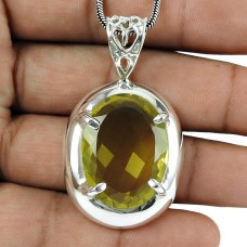 Pleasing Lemon Quartz Gemstone Pendant 925 Sterling Silver Jewellery