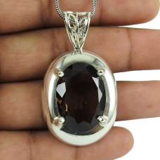 925 Sterling Silver Jewelry Fashion Smoky Quartz Gemstone Pendant Wholesaler
