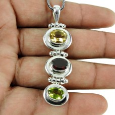 Trendy Citrine, Garnet, Peridot Gemstone Pendant 925 Sterling Silver Gemstone Jewellery