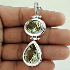 925 Sterling Silver Vintage Jewelry Beautiful Green Amethyst Gemstone Pendant Wholesaling