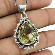 Excellent 925 Sterling Silver Lemon Quartz Gemstone Pendant Vintage Jewellery