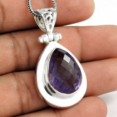 925 Sterling Silver Antique Jewelry Traditional Amethyst Gemstone Pendant Fabricant