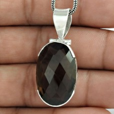 925 Silver Jewelry Traditional Smoky Quartz Gemstone Pendant Wholesale Price