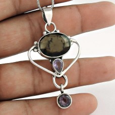 925 Sterling Silver Antique Jewelry Beautiful Smoky Quartz, Amethyst Gemstone Pendant Fabricant