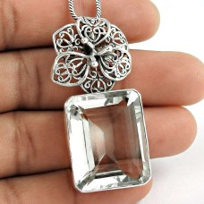 Sterling Silver Fashion Jewelry High Polish Crystal Gemstone Pendant Großhandel