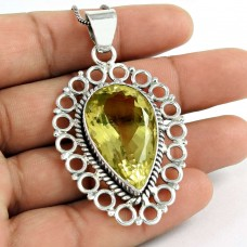 Best Quality!! 925 Sterling Silver Lemon Quartz Pendant