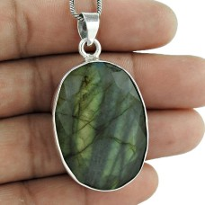 Indian Sterling Silver Jewelry Ethnic Labradorite Gemstone Pendant De gros