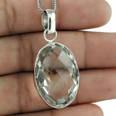 925 Sterling Silver Jewelry High Polish Crystal Gemstone Pendant Supplier India