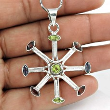Indian Sterling Silver Jewelry Ethnic Garnet, Peridot, Iolite Gemstone Pendant Fournisseur