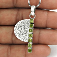 925 Sterling Silver Indian Jewelry Traditional Peridot Gemstone Pendant Fabricant