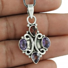 925 Sterling Silver Gemstone Jewelry Fashion Amethyst, Garnet Gemstone Pendant Supplier