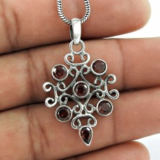 Indian Sterling Silver Jewelry Fashion Garnet Gemstone Pendant Wholesale Price