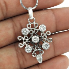 925 Silver Jewelry Beautiful White CZ Gemstone Pendant Wholesale