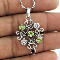 925 Sterling Silver Jewelry Rare Garnet, Peridot, Crystal Gemstone Pendant Al por mayor