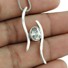 925 Sterling Silver Gemstone Jewelry Charming White CZ Gemstone Pendant Supplier