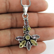 925 Sterling Silver Antique Jewelry Designer Amethyst, Citrine Gemstone Pendant Exporter