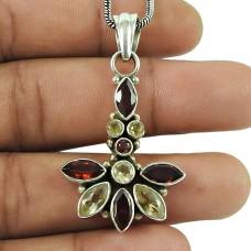 Scrumptious Garnet, Citrine Gemstone Pendant 925 Sterling Silver Jewellery
