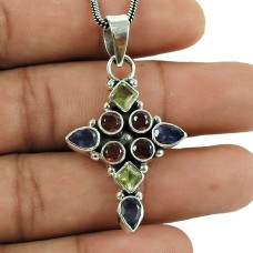 Stylish Garnet, Peridot, Iolite Gemstone Pendant 925 Sterling Silver Jewellery