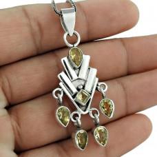 925 sterling silver gemstone jewelry Fashion Citrine Gemstone Pendant