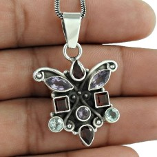 925 sterling silver indian jewelry Rare Garnet, Amethyst, Blue Topaz Gemstone Pendant