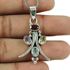 Beautiful Garnet, Amethyst, Citrine, Blue Topaz Gemstone Pendant 925 Silver Jewellery