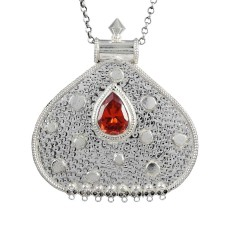 Antique Look 925 Sterling Silver Red CZ Pendant