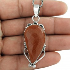 925 Sterling Silver Indian Jewellery Beautiful Red Sunstone Gemstone Pendant Exporter India