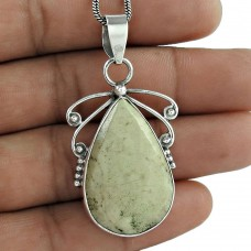 Indian Sterling Silver Jewellery Charming Leaf Jasper Gemstone Pendant Hersteller