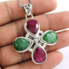 Bright Side! 925 Sterling Silver Ruby, Emerald Pendant