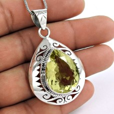 925 sterling silver fashion jewelry Fashion Lemon Quartz Gemstone Pendant