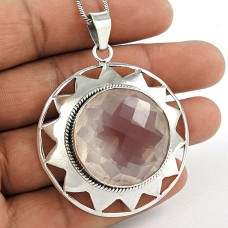 925 Sterling Silver Jewelry High Polish Rose Quartz Gemstone Pendant Proveedor