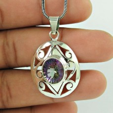 Beautiful 925 Sterling Silver Mystic Gemstone Pendant Jewellery