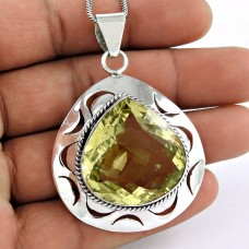 925 sterling silver vintage jewelry Beautiful Lemon Quartz Gemstone Pendant