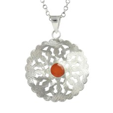 925 Sterling Silver Jewelry Fashion Carnelian Gemstone Pendant Fabricante