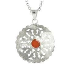 925 Sterling Silver Jewelry Fashion Carnelian Gemstone Pendant Fabricante