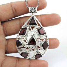 925 sterling silver gemstone jewelry Party WearGarnet Gemstone Pendant Al por mayor