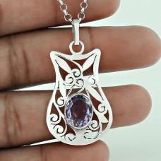 925 Sterling Silver Antique Jewelry Beautiful Amethyst Gemstone Pendant De gros