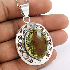 925 sterling silver indian jewelry Charming Lemon Quartz Gemstone Pendant