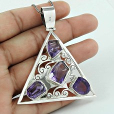 Graceful 925 Sterling Silver Amethyst Gemstone Pendant Jewellery