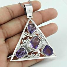 Graceful 925 Sterling Silver Amethyst Gemstone Pendant Jewellery